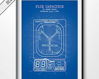 FLUX CAPACITOR poster, flux capacitor patent print, fantasy blueprint, movie decor, back to the future illustration, movie art, dr emmet