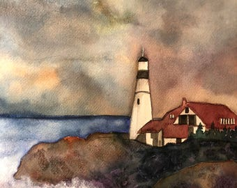 Lighthouse original watercolor painting, watercolor painting, original watercolor painting