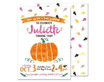 Fall birthday invite etsy pumpkin birthday invitation printed invitations girly watercolor fall autumn birthday party pumpkin birthday invite leaves pumpkin party filmwisefo