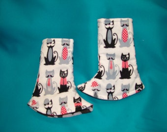 Tula Corner drool Pads, Ready to ship, Cats and Moustach Reversible without ribbon Tags