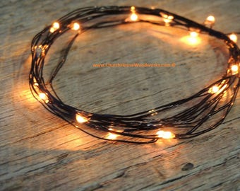 LED Battery Operated Fairy Lights, Rustic Wedding Decor, Room Decor, 6.6 ft, Orange LED Black Wire Halloween costume lights