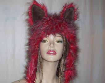 Red Wolf Fur Hat Furry Fantasy Wild Thing Furries Fur Birthday Gift Party Monster Black Red Wolf Mardi Gras Costume Geek Hood Hat Adult