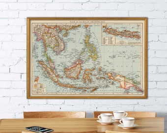 East Indies map - Old map of  East Indies  print - Wall map archival print