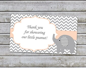 Thank You for Showering Our Little Peanut Insert for Elephant Baby Shower Invitations  (80B1p)