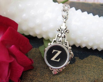 Initial Z Antique Typewriter Key Pendant, Letter Z, Initial Necklace