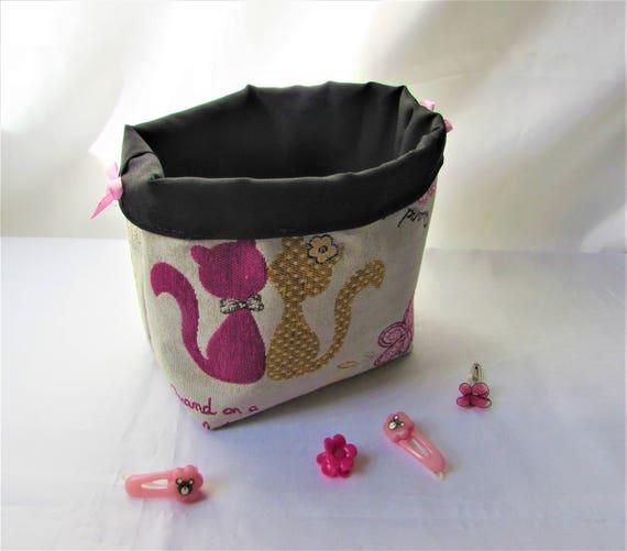 panier vide pochecorbeille rangement jouets filletissu beige. Black Bedroom Furniture Sets. Home Design Ideas