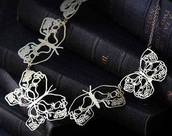 Skull Butterflies Collection - The Uncommon Defy Project -  Brass - Five Graphic Skull  Butterflies Necklace - UCSN501 - by Defy
