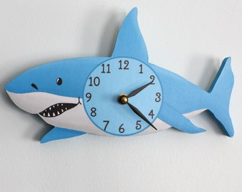 Shark Wooden WALL CLOCK for Kids Bedroom Baby Nursery WC0072