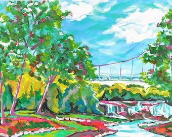 Greenville SC Falls Park Bridge 11x17