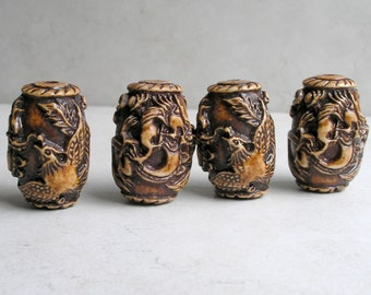 Dragon Phoenix Bead Tibetan Carved Baked Coral Ethnic Focal Bead For Jewelry Making