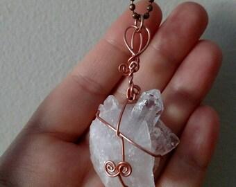 Quartz Necklace - Quartz Cluster Necklace - Copper Necklace