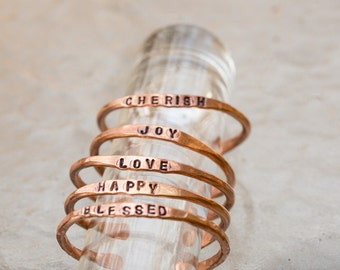 Personalized Copper Jewelry, Inspirational Stamped Copper Bangles, Hand Stamped Copper, Intention Bracelets, Copper Resolution Bracelets