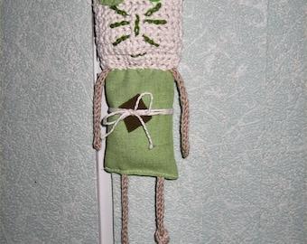 fabric and crochet hanging crochet amigurumi cat plush