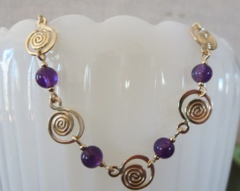 Snail Shell Link Bracelet with 6mm Beads
