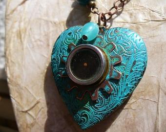 Steampunk Locket Necklace - Stop & Listen