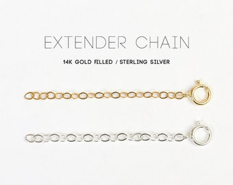 Bracelet or necklace extender chain - 14k gold fill, rose gold fill, sterling silver - make your jewellery length adjustable
