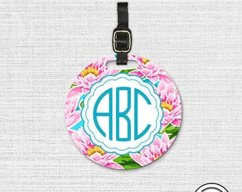 Monogram Lily Pink Floral Round Luggage Tag, Single tag with Strap 3.5 Inch Round Custom Text on Back