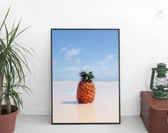 Pineapple Deco, Pineapple Photo, Pineapple Artwork, Beach Deco, Summer Deco, Tropical Artwork, Tropical Poster, Pineapple Beach Artwork