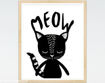 Cat Nursery Art, Meow Kitty Cat Print, Black and White, Minimal Cat, Scandinavian, Minimal Nursery, Monochrome Nursery Art, Peekaboo Animal