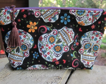 Zippered Pouch | Makeup Bag | Lined Zipper Bag | Cute Skull Print Fabric | Sugar Skulls Bag | Small Gift Under 20 | Camera Accessory Bag