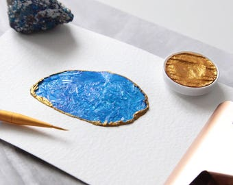 Agate Slice Crystal Watercolour Painting in Ultramarine and Gold