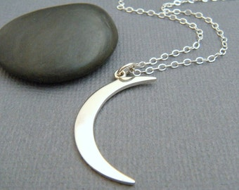 large crescent moon necklace. sterling silver moon sliver. celestial charm astrology contemporary modern pendant simple jewelry gift for her