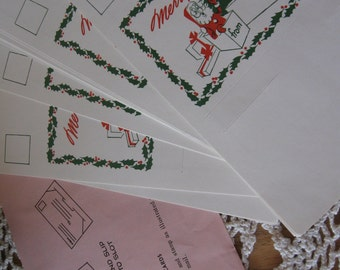 Lot of 12 Vintage Self Mailer Santa Christmas Notes