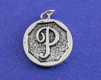 1 pcs-Initial P Charm, P Alphabet Pendant, Antiqued Silver Letter P Coin-As-K85350H-8S