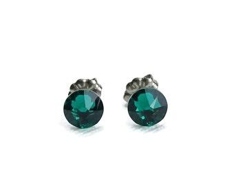 Titanium Stud Earrings Emerald Green Swarovski Crystal Studs, Titanium Posts for Sensitive Ears, No Nickel Hypoallergenic Jewellery
