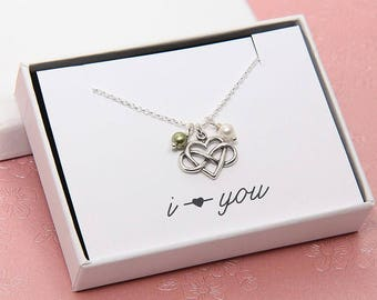 Heart Necklace, Infinity Necklace, Sterling Silver Infinity Necklace, Personalized Necklace, Birthstone Necklace, I love you Necklace, Love