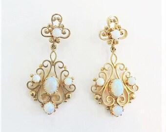 Vintage 1960's Earrings with Opal / 14k