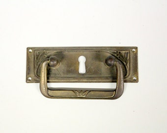 Art Nouveau drawer handle with keyhole of brass-Vintage Cabinet handle-Handle