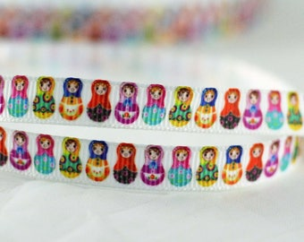 """Colorful Russian Matryoshka Nesting Dolls Grosgrain Ribbon 3/8"""" Wide Scrapbooking HairBows Parties DIY Projects CR1015"""