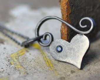 bitty black heart necklace, oxidized sterling silver heart pendant, flush set stone of your choice