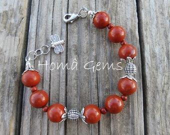 Red Jasper, bee charm bracelet.