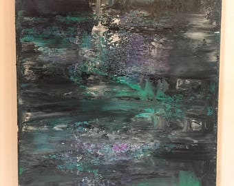 Original Painting by New Orleans Artist - Green, Purple, Black, White - Made in the USA - Signed Painting on Canvas - NOLA