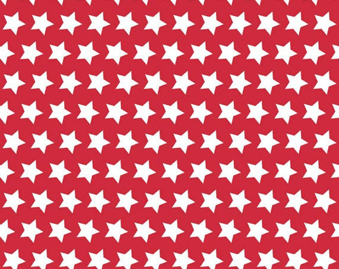 One Yard Riley Blake 2015 Basics - Stars in Red - Cotton Quilt Fabric - by The RBD Designers for Riley Blake - C315-80 (W3252)
