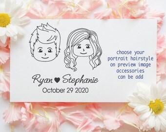 Choose portrait draw Wedding favor stamp, draw custom portrait stamp, chibi, avatars, , personalized wedding stamp-16