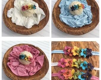 Rainbow Baby Tieback Stretch Knit Jersey Wrap Headband Set Newborn Protography Prop Blue Ivory Pink Dusty Rose White Cream Flower