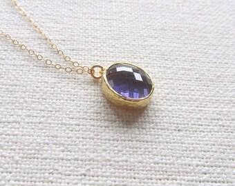 Purple Tanzanite Necklace February Birthstone 14k Gold Fill Chain, Modern Minimalist Jewelry,