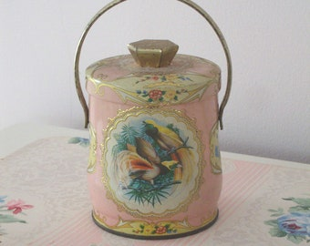 VINTAGE MURRAY ALLEN Pink Tin - Exotic Birds - Confections - Floral - Gold