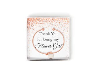 Thank You For Being My Flower Girl Gift Box, Flower Girl Thank You Gift, Wedding Thank You Flower Girl Bracelet, Tie The Knot Bracelet