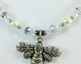 Pewter Bumblebee Pendant with Glass Pearls Sparkling Clear Cut Crystal Beads Necklace