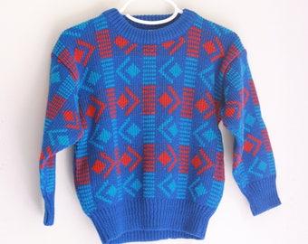 vintage kids sweater eighties abstract 3t