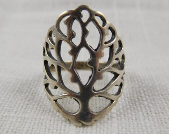 Vintage Sterling Tree of Life Cut-Out Ring, size 8