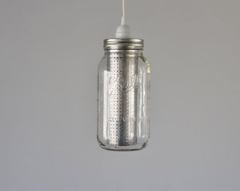 Mason Jar Pendant Light, Half Gallon Jar With Silver Metal Shade, Hanging Pendant Lamp, BootsNGus Mason Jar Lighting Fixture