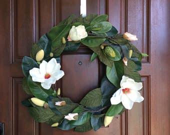 Magnolia Wreath | Spring Wreath | Front Door Wreath | Outdoor Wreath | Summer Wreath | Magnolia | Wreath | Greenery Wreath |