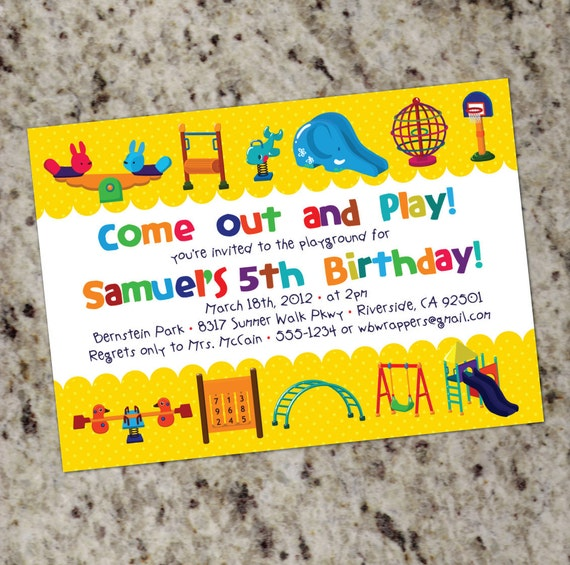 Playground themed birthday party invitations printable filmwisefo Gallery