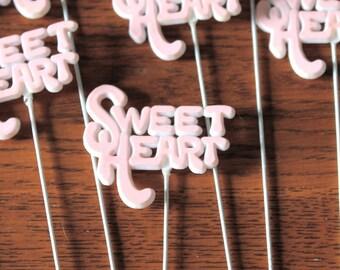 Set of 9 Vintage Pink Sweet Heart Stick