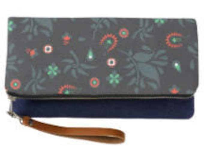 Navy Indie Pattern Fold Over Clutch